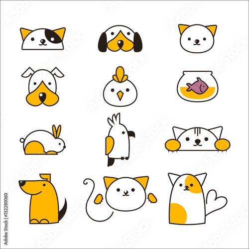 Deurstickers Uilen cartoon Pet shop symbols vector.