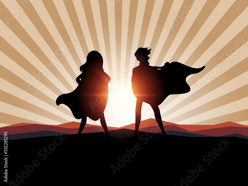 Silhouette man and women superhero with sunlight. Canvas Print