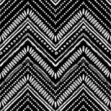 Hand drawn Zigzag and stripe pattern. Vector illustration for tribal design. Black and white colors. Ethnic theme - 132287839