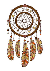 Naklejka Boho Colorful hand drawn dreamcatcher with ethnic feathers