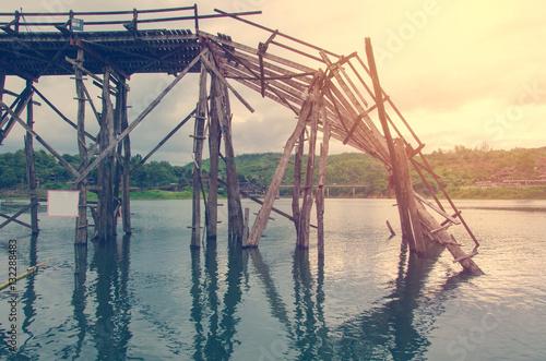 Fotografie, Obraz  Longest  wooden bridge it broken in Thailand