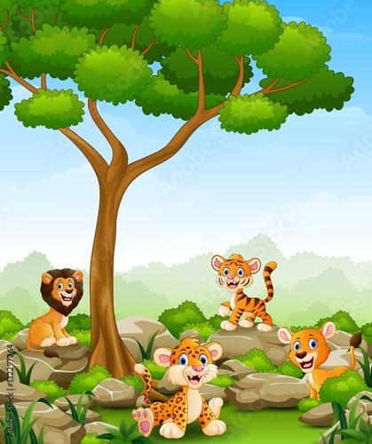 Printed kitchen splashbacks Cats Wild animals cartoon in the jungle