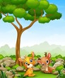 Cartoon baby kangaroo with baby deer in the jungle