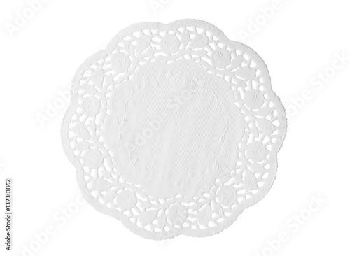 Lacy white paper napkin isolated on white background Tapéta, Fotótapéta