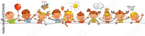 fototapeta na drzwi i meble Group of children with blank board. Drawing like children