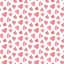 Vector Romantic Seamless Pattern With Hand Drawn Red Heart Doodles