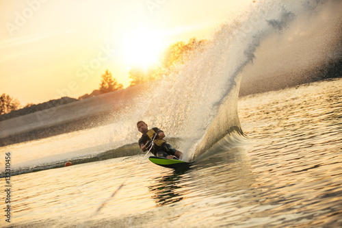 Man wakeboarding on a lake