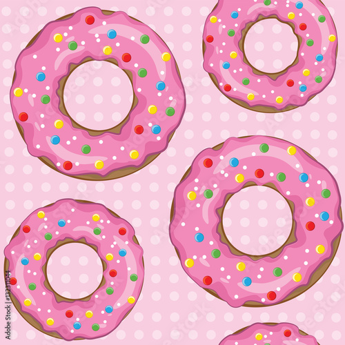 Cotton fabric Texture of donuts on a pink background.
