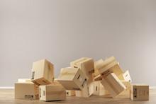 Umzugskartons Fallen Auf Den Boden