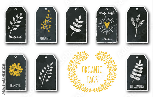 Staande foto Retro sign Vector set of cute gift tags with flower, heart, plants, tea leaf.