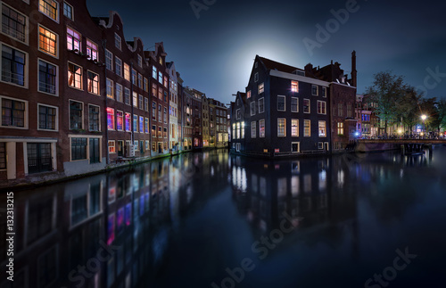 Tuinposter Amsterdam Moonlight over Amsterdam - Netherlands