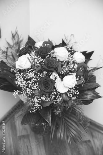 Bouquet Of White And Red Roses For Engagement And Wedding For Bride