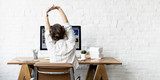 Work Resting Stretching Lifestyle Woman Concept