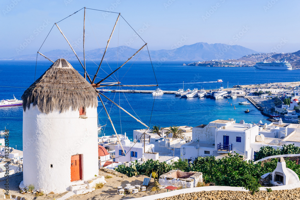 Fototapety, obrazy: View of Mykonos and the famous windmill from above, Mykonos island, Cyclades, Greece
