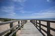 Wooden bridge on a beach, Praia da Lagoa de Albufeira, Portugal