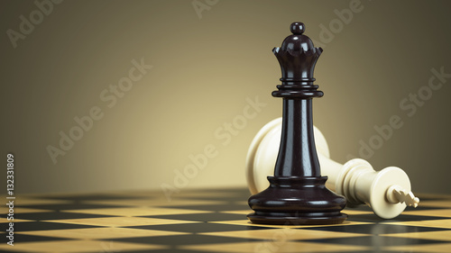 Fotografija Defeat chess king from a black queen on a chessboard