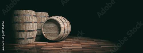 Fotografía Wooden barrels on dark background. 3d illustration