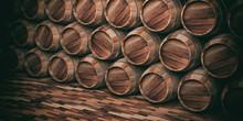Wooden Barrels Background. 3d Illustration