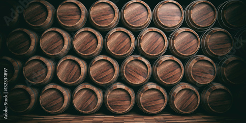 Fotografering Wooden barrels background. 3d illustration