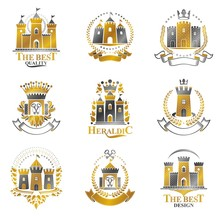 Ancient Castles Emblems Set. Heraldic Coat Of Arms Decorative Lo