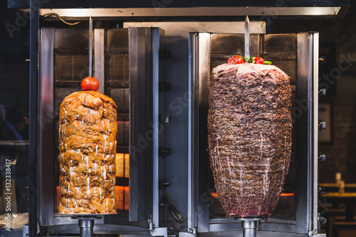 Fototapeta Bbq meat for turkish doner kebab in a restaurant in istanbul. As