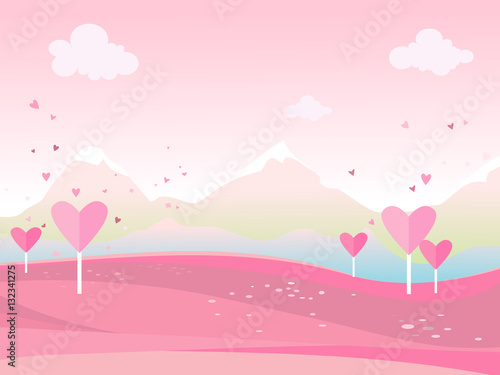 Papiers peints Rose clair / pale Vector cartoon illustration of a landscape.