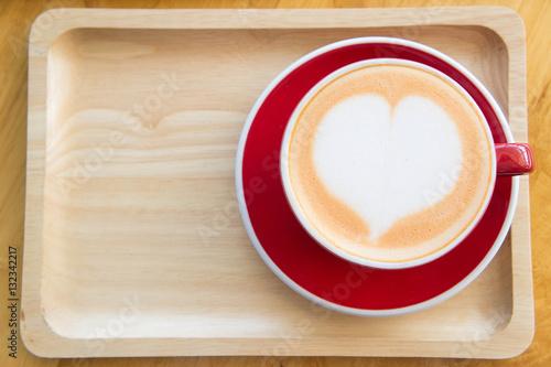 Foto op Plexiglas Heart coffee cup milk in a coffee shop , Delicious coffee cake
