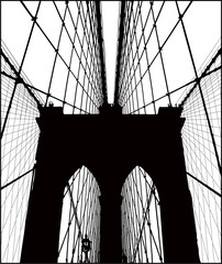 Obraz na PlexiBrooklyn Bridge vector silhouette.