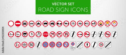 ROAD SIGNS   Znaki Drogowe Zakazu - vector icon PACK vol.1 - fototapety na wymiar