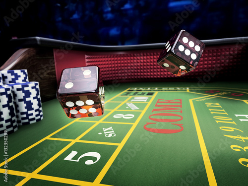 dices throw on craps table at casino Wallpaper Mural