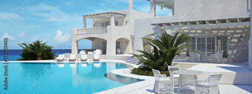 Fotografiet  Villa with swimming pool. summer concept. 3d rendering