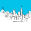 Metropole Skyline Skizze, Blaue Serie