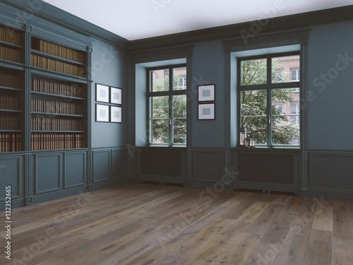 Fotografía  empty room with windows and parquet. 3d rendering