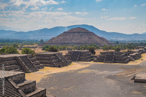 View of the Pyramid of the Sun and the Avenue of the Dead  at Teotihuacan in Mexico