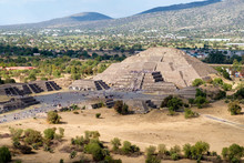 View Of The Pyramid Of The Moon And The Avenue Of The Dead  At Teotihuacan In Mexico