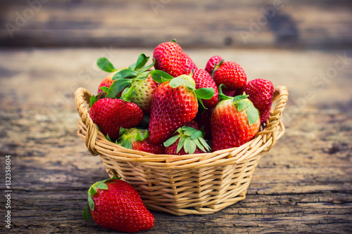 Fresh strawberries in the basket Wallpaper Mural