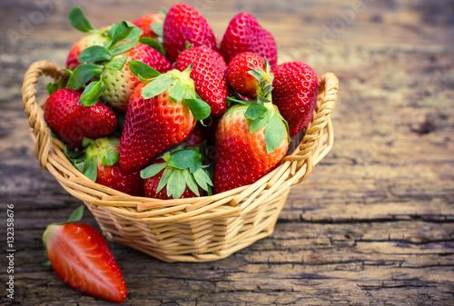 Fresh strawberries in the basket Wallpaper Mural