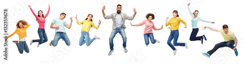 Photo international group of happy people jumping