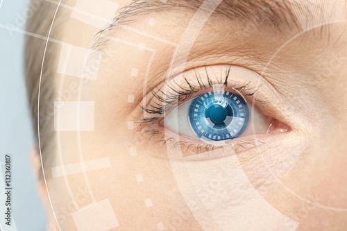 Pinturas sobre lienzo  Ophthalmologist concept. Woman's eye, closeup