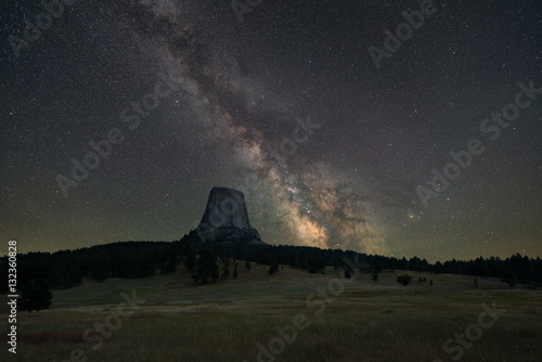Poster UFO Milky Way rising behind Devils Tower