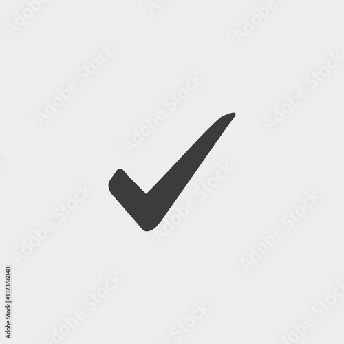 Fotografie, Obraz  Check icon in a flat design in black color