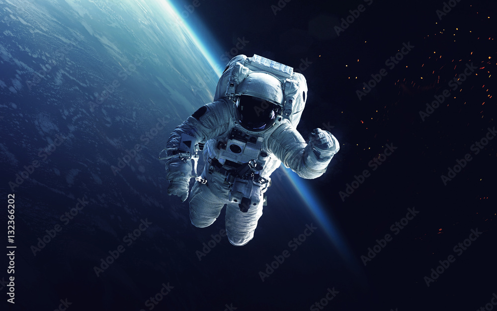 Fototapety, obrazy: Astronaut at spacewalk. Cosmic art, science fiction wallpaper. Beauty of deep space. Billions of galaxies in the universe. Elements of this image furnished by NASA