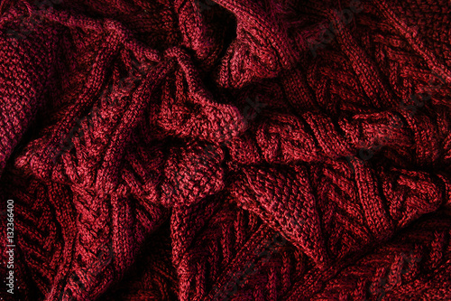 Photo Texture knitted scarf burgundy - cozy warm background