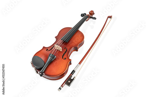 Carta da parati Classical brown violin and bow lying beside isolated on white background