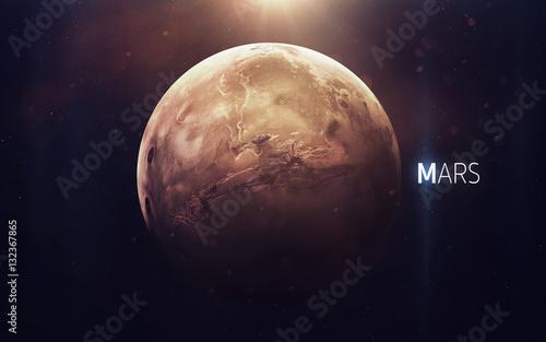 Mars - Piękna sztuka w wysokiej rozdzielczości przedstawia planetę Układu Słonecznego. Ten obraz elementy dostarczone przez NASA