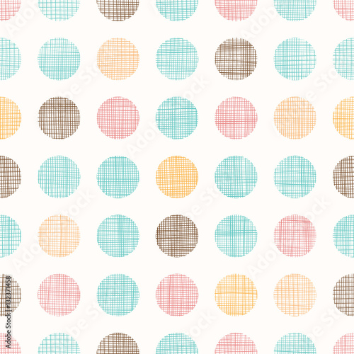 Valokuvatapetti Vector Vintage Dots Circles Seamless Pattern Background With Fabric Texture