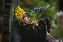 Balinese Hindu Offerings Called Canang. Canang Sari Is One Of The Daily Offerings Made By Balinese Hindus To Thank The Sang Hyang Widhi Wasa In Praise And Prayer And Can Be Seen Everywhere In Bali.