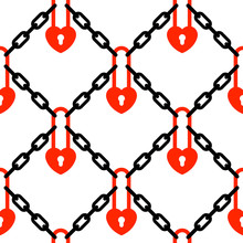 Heart Padlock And Chains Network Pattern