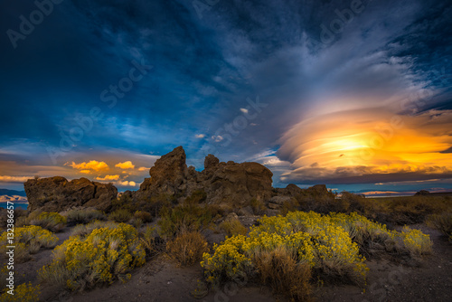Fotografie, Obraz  Pyramid Lake Nevada Tufas at Sunset