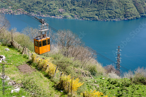 Lago di Como (Lake Como) scenic view with cable car between Argegno and Pigra Canvas Print